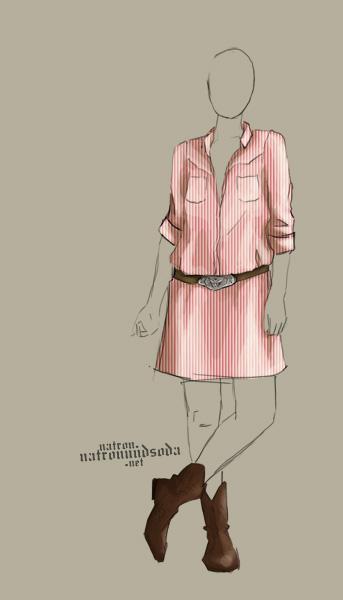 Westerhemdblusenkleid Entwurf